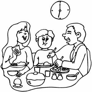 300x300 Happy Family Dinner Coloring Page