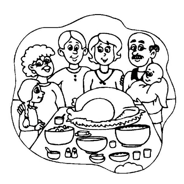 600x600 Thanksgiving Dinner Coloring Pages