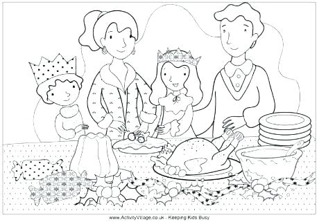 460x321 Christmas Scene Colouring Pages Scene Coloring Pages Family Dinner