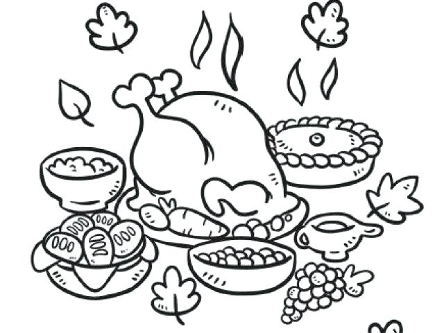 640x480 Thanksgiving Feast Coloring Pages Thanksgiving Dinner Coloring