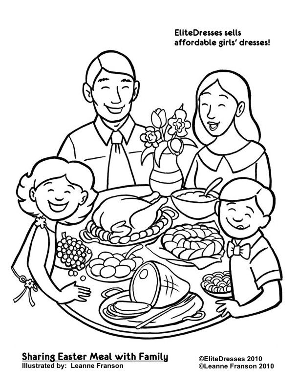 612x792 Coloring Pages Of A Family Eating