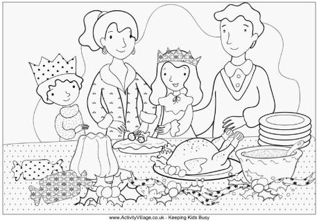 460x321 Family Christmas Dinner Colouring Page