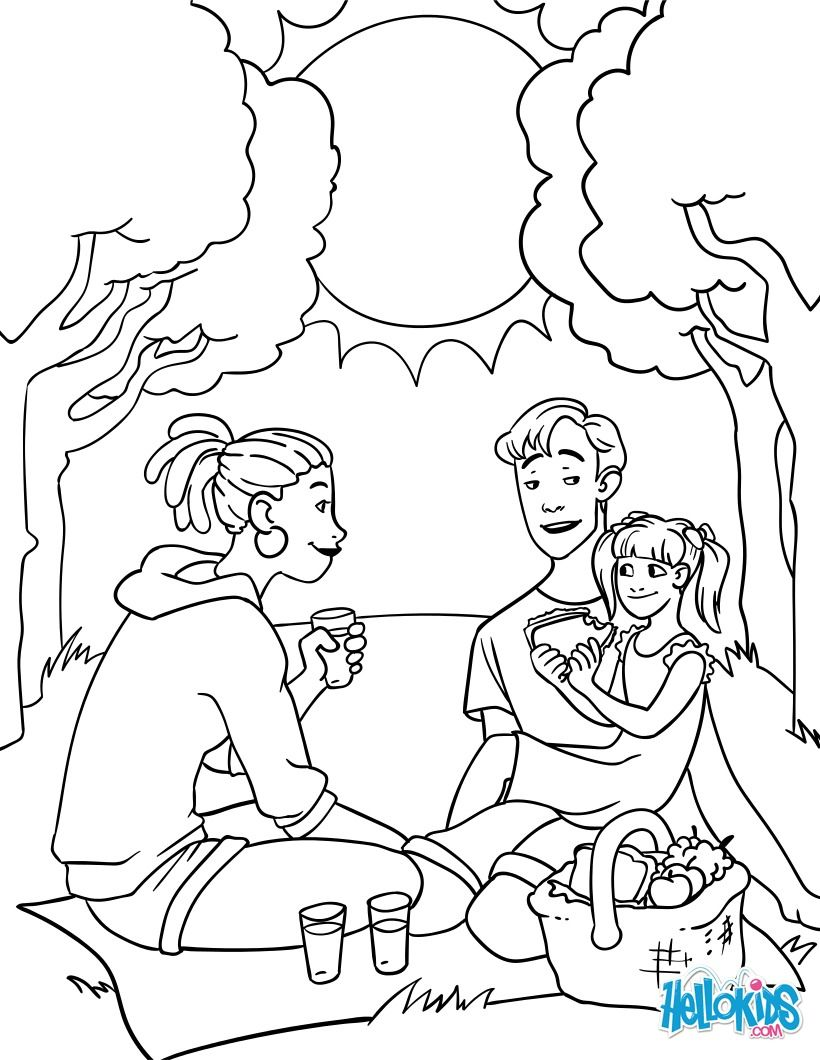 820x1060 Cute Family Picnic Coloring Page Perfect Coloring Sheet For Kids
