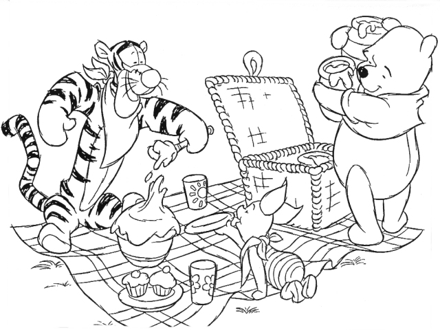 640x480 Family Picnic Colouring Page Picnic Coloring Pages