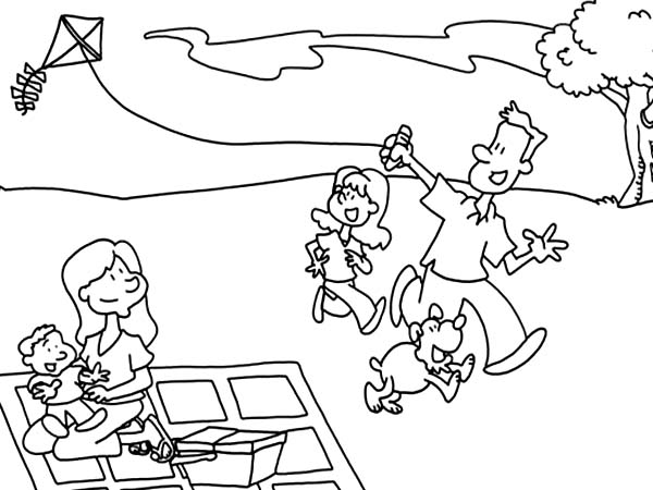 600x450 Father And His Daughter Playing Kite In Picnic Coloring Page