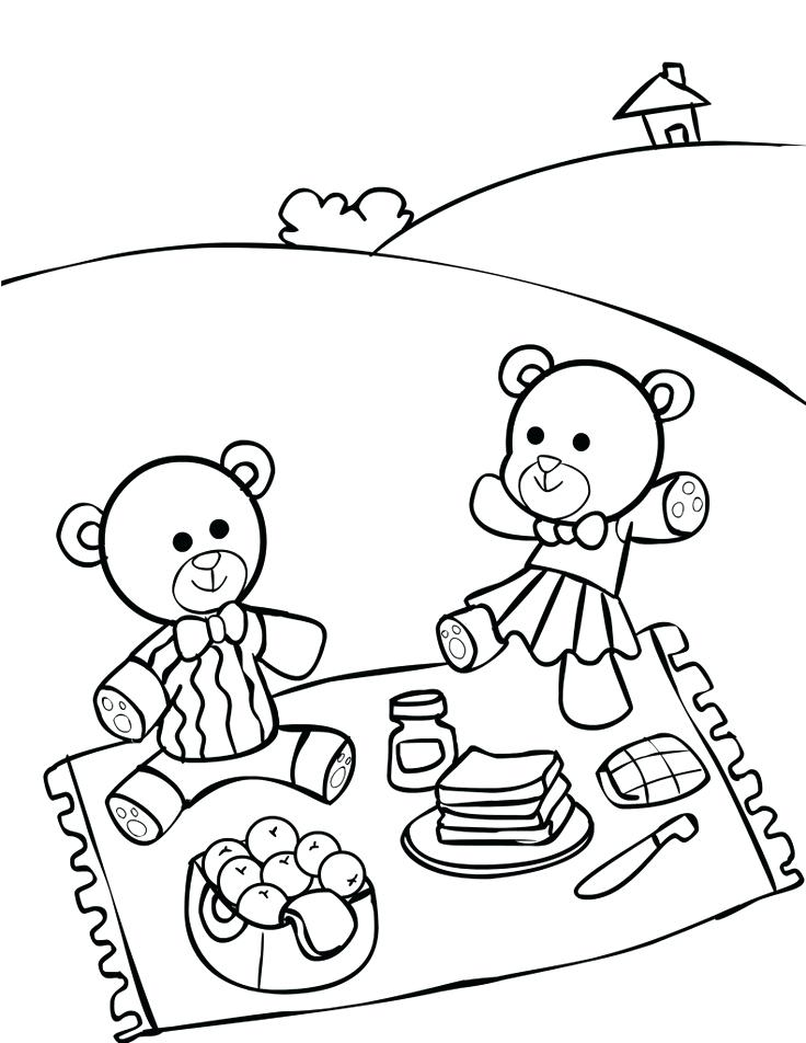 736x952 Picnic Coloring Page Teddy Bear Picnic Coloring Pages Family