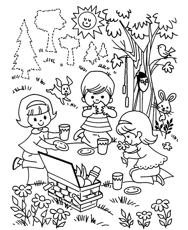 600x734 Three Children Playing Family Picnic Coloring Pages