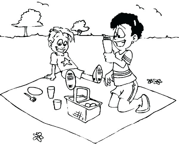 600x502 Coloring Picnic Coloring Pages Family Food Sheets Picnic
