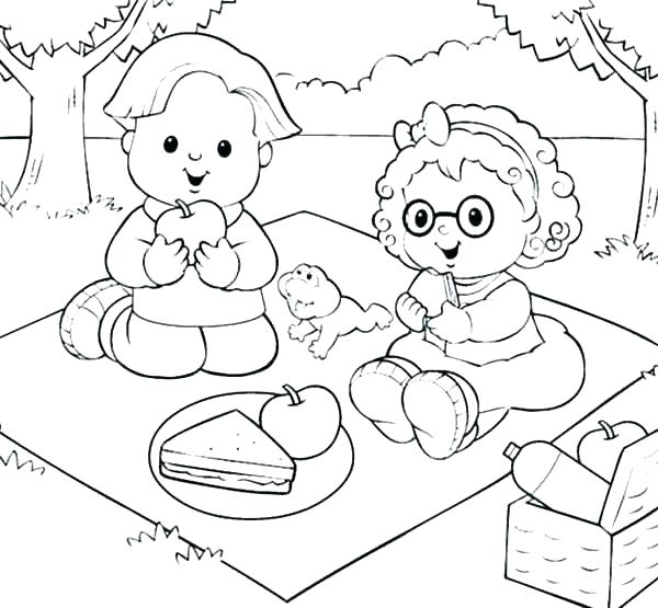 600x555 Picnic Coloring Page