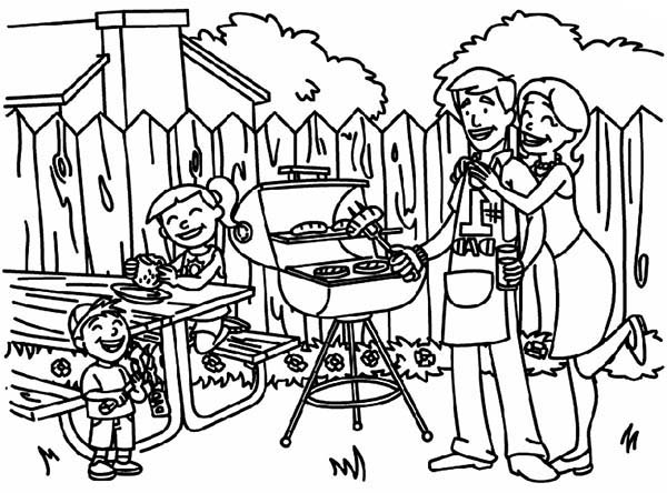 600x444 Backyard Family Picnic Coloring Pages