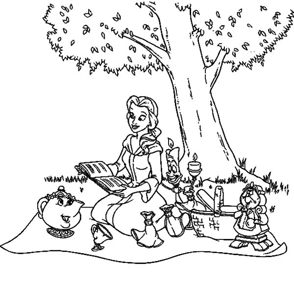 600x587 Belle And Friends Family Picnic Coloring Pages