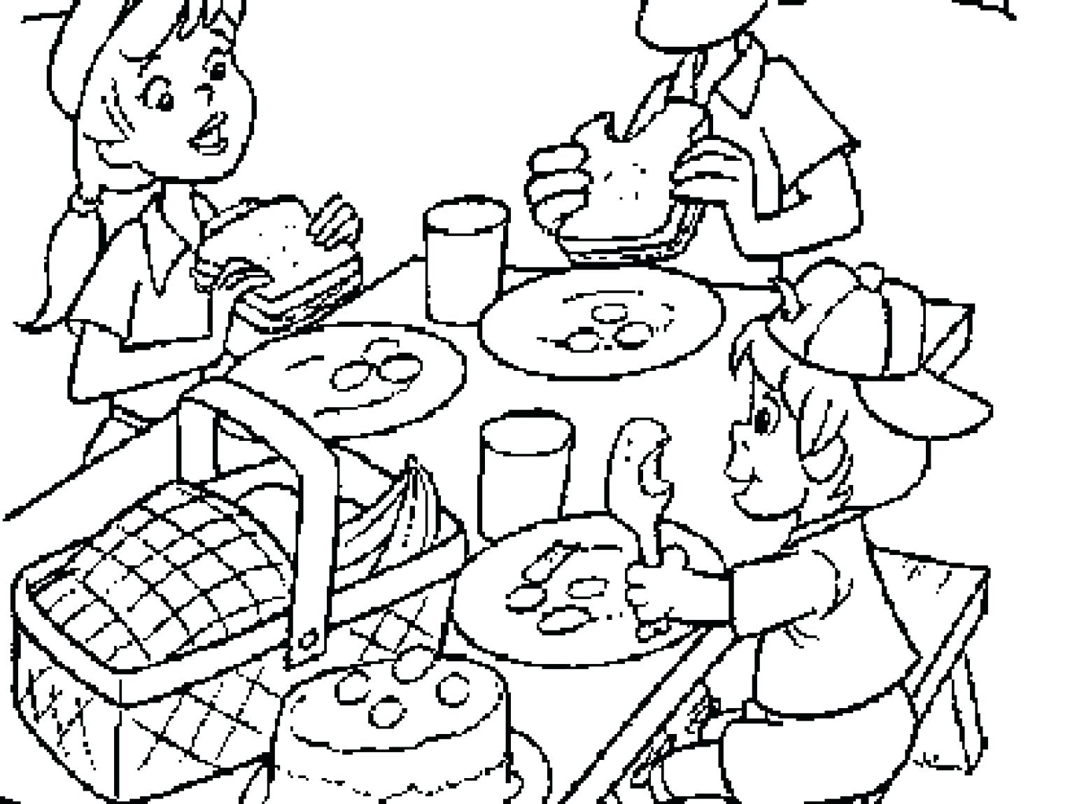 Family Picnic Coloring Pages at GetDrawings.com   Free for ...