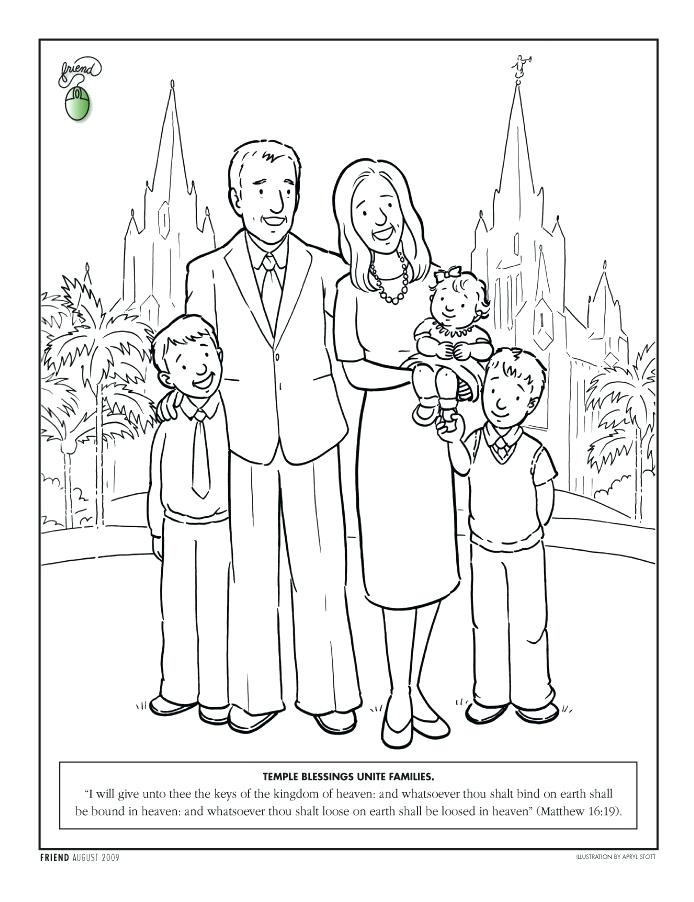 694x902 Family Coloring Pages Family Standing In Front Of A Temple Family