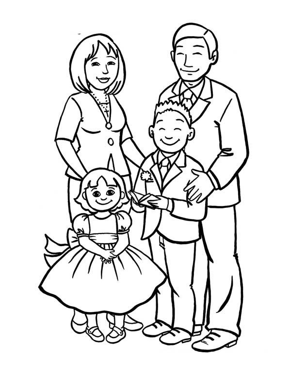 600x776 How To Draw A Beautiful Family Coloring Page Creative Teaching