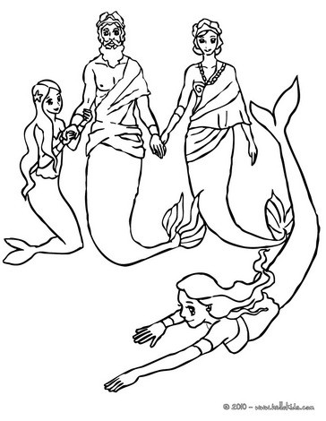 364x470 King's Triton Mermaid Family Coloring Pages