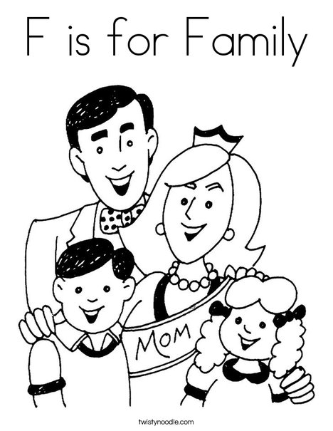 468x605 F Is For Family Coloring Page