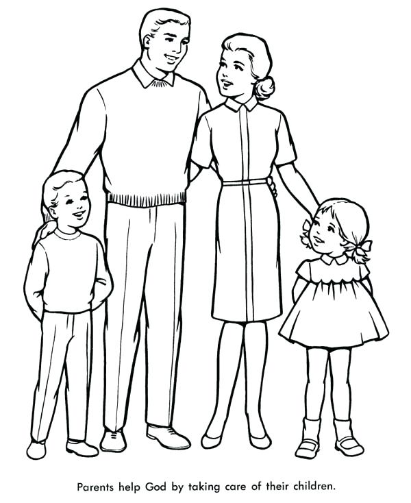 600x734 Family Coloring Page Perfect Family Coloring Page Free Family