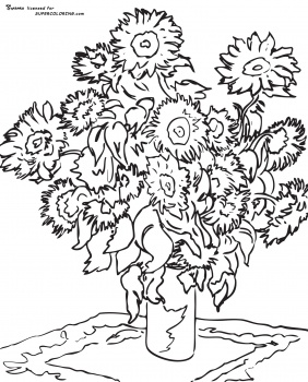 282x350 Famous Artist Coloring Pages Sunflower