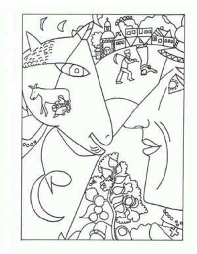 400x515 Marc Chagall Coloring Pages Famous Artist Coloring Pages