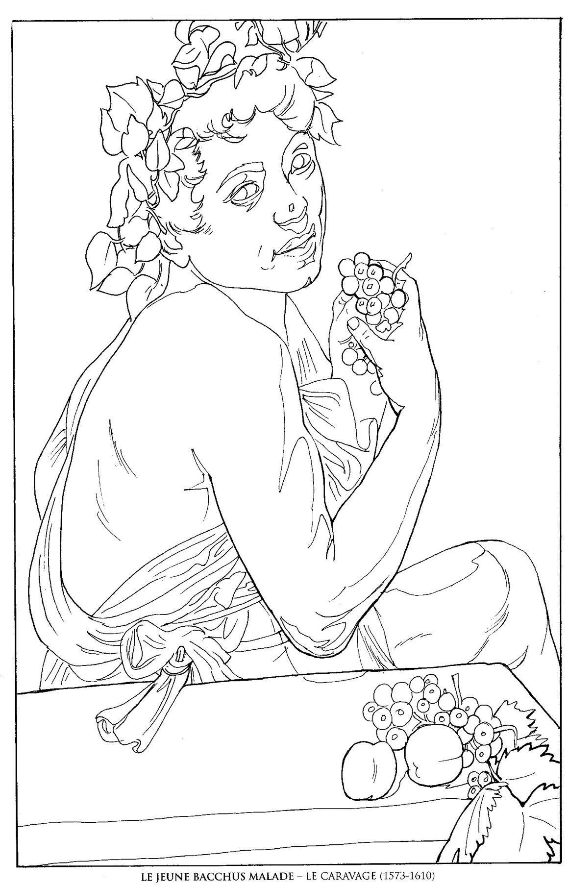 1159x1806 Le Jeune Bacchus Malade Le Caravage Famous Paintings Coloring