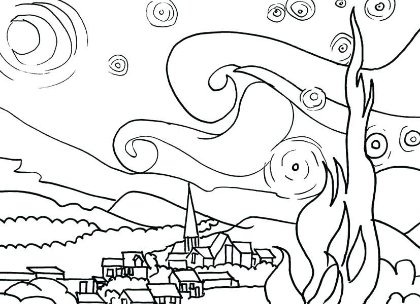 827x600 Self Portrait Coloring Page Van Coloring Pages Van The Starry