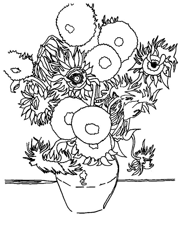 600x800 The Sunflower In Famous Paintings Coloring Page Batch Coloring