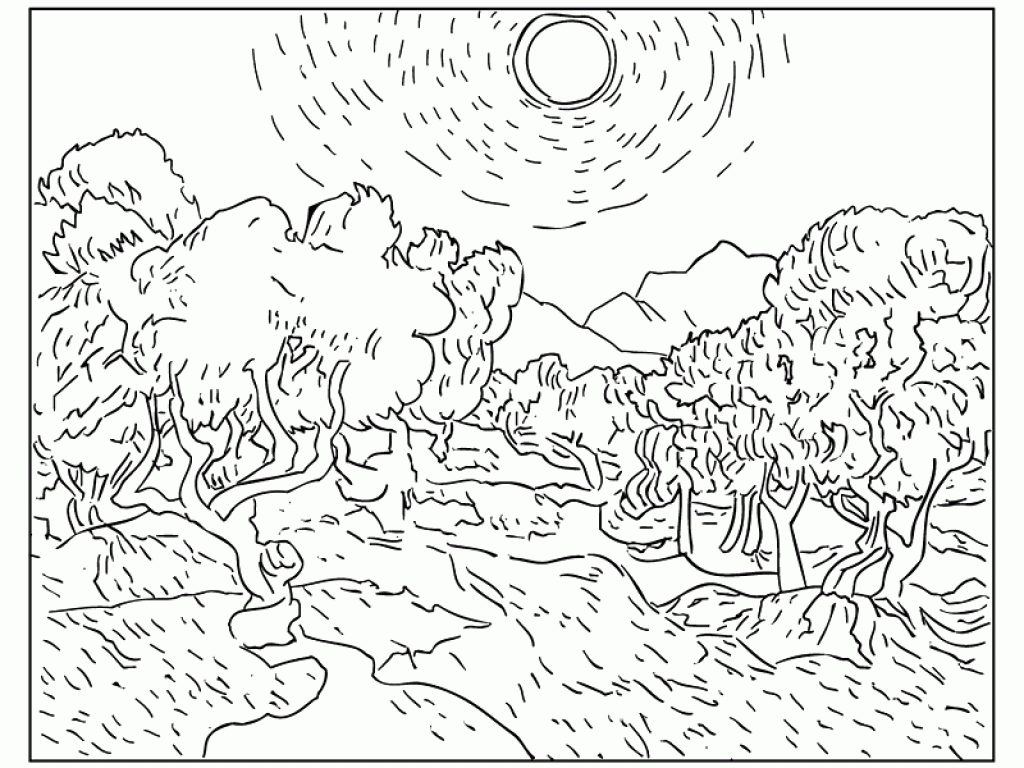 1024x768 Famous Artwork Coloring Pages Awesome Famous Paintings Coloring
