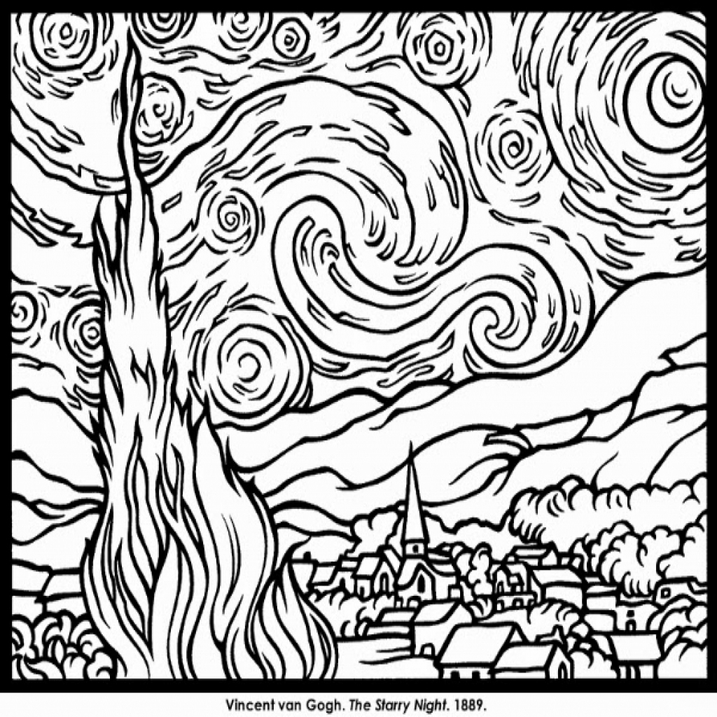1024x1024 Famous Art Coloring Pages With Regard To The Fresh Famous