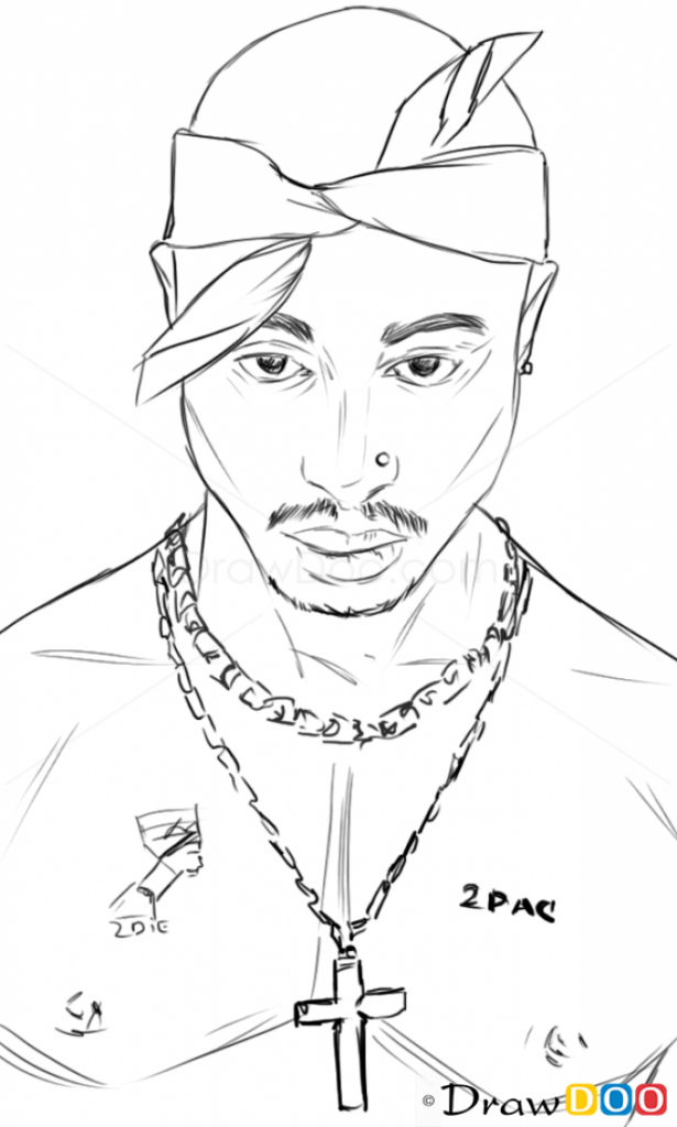 615x1024 Coloring Pages How To Draw Tupac Shakur Famous Singers Art