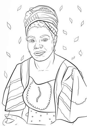 333x480 Fabulous, Famous Women Coloring Pages For Kids Maya Angelou