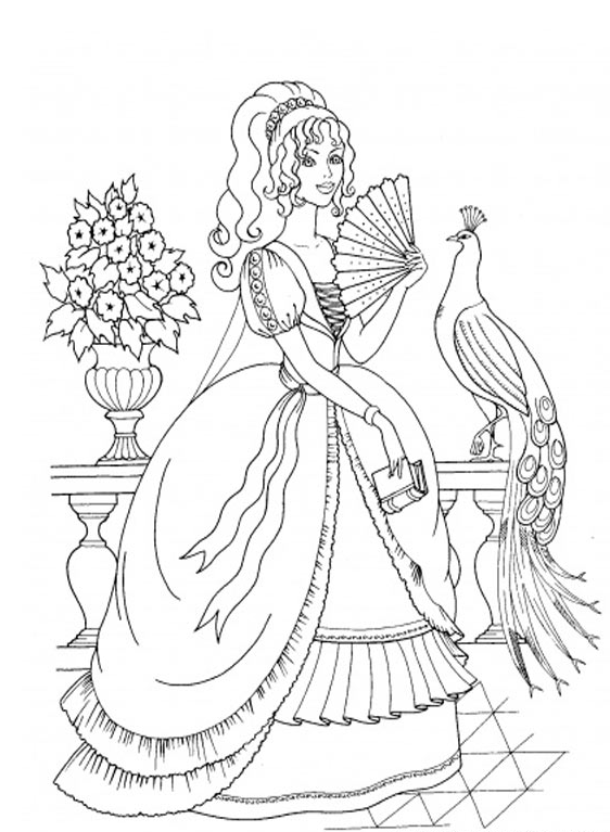562x767 Fancy Princess Coloring Page Coloring Book