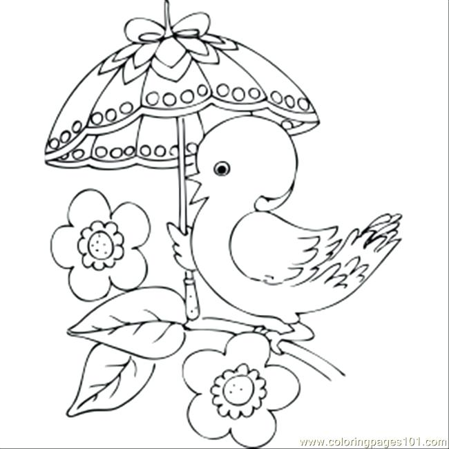 650x650 Umbrella Coloring Pages Chick With Fancy Umbrella Coloring Page
