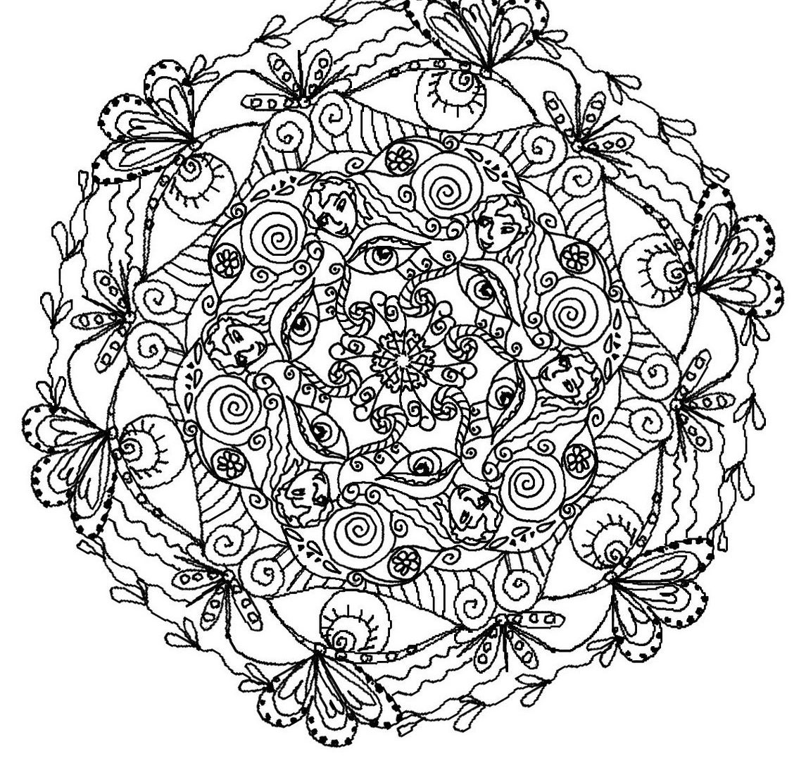 1145x1080 Fancy Printable Mandala Coloring Pages For Adults Artistic Page