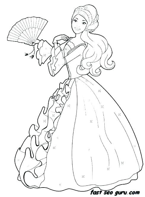 489x665 Princess Coloring Pages In A Dress Coloring In Fancy Fancy Dress