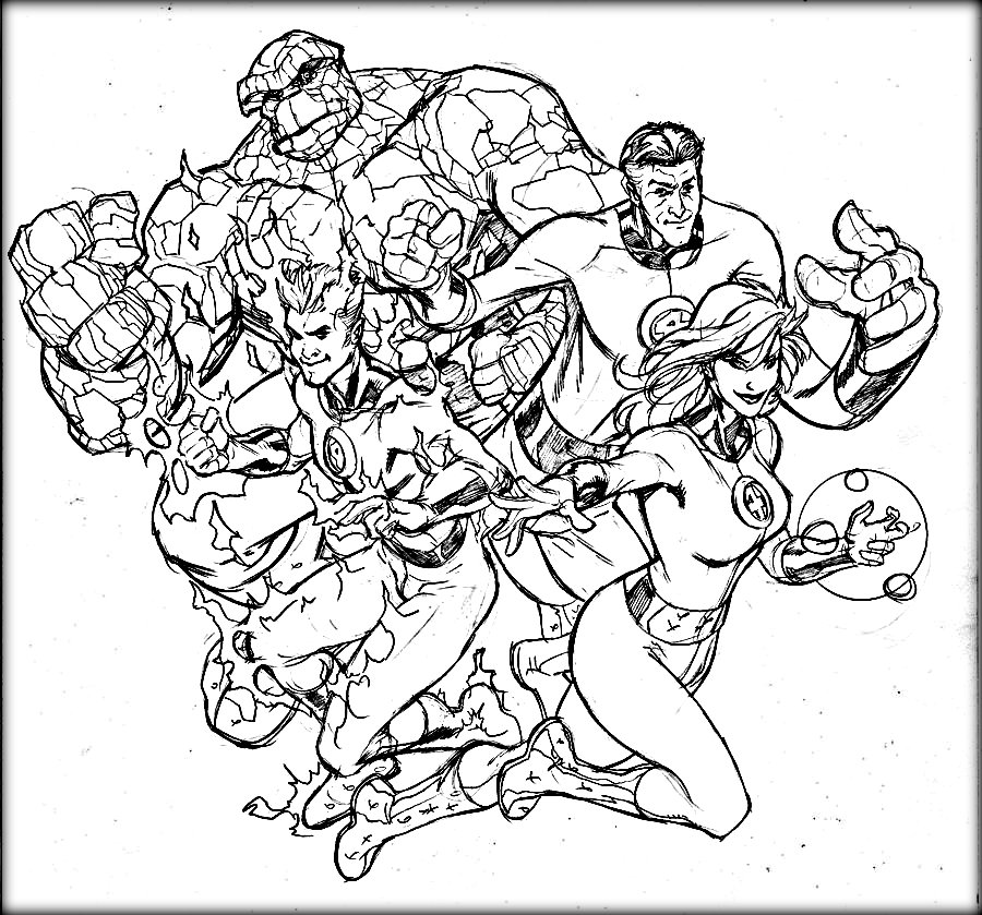900x839 Fantastic Four Coloring Sheets For Kids