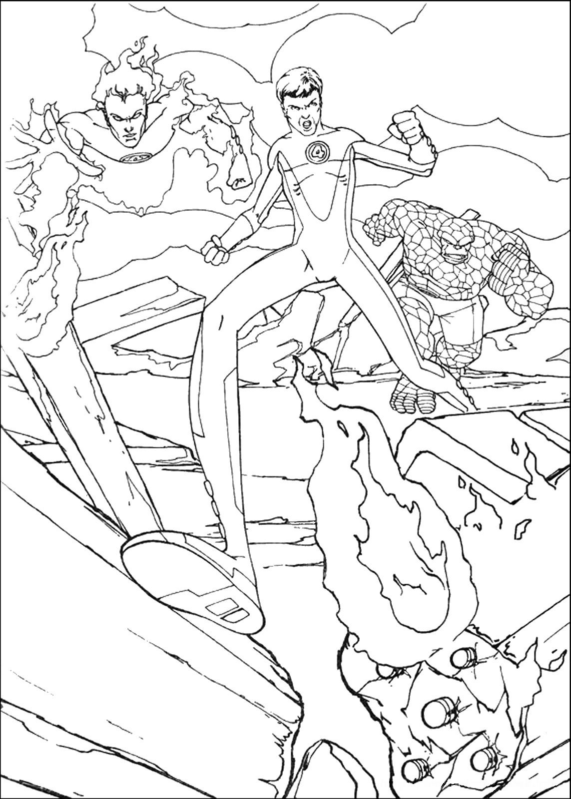 1143x1600 The Fantastic Four Coloring Pages