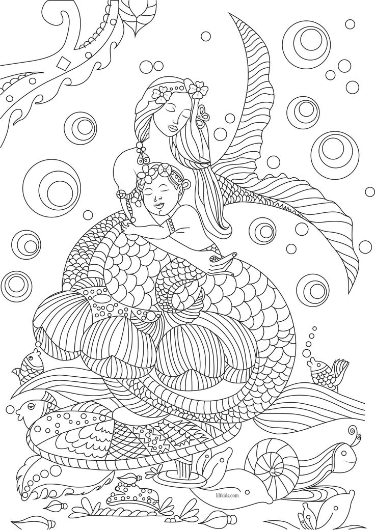736x1041 Classy Design Mermaid Coloring Pages For Adults Free Page Adult
