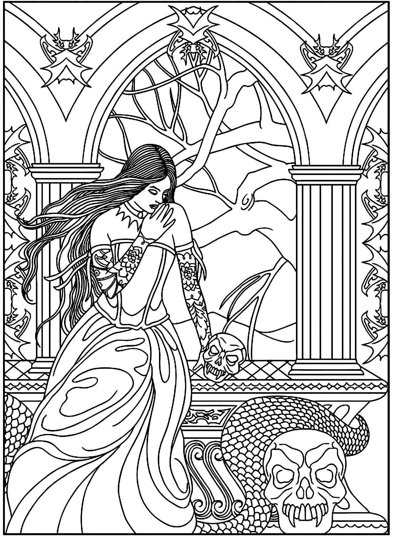 1300x1777 Fantasy Woman Skulls Snake