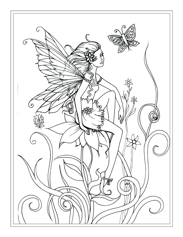 736x952 Lovely Fantasy Coloring Pages For Adults And Free Flower Fairy