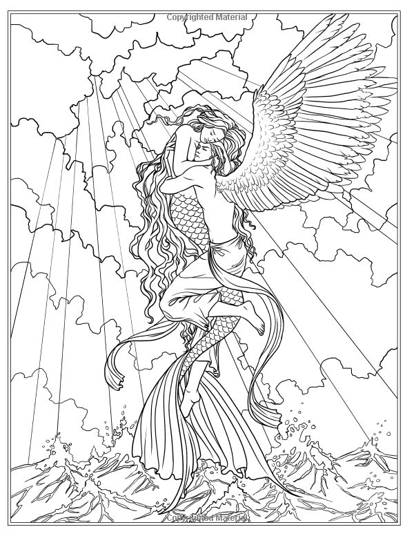 Fantasy Mermaid Coloring Pages