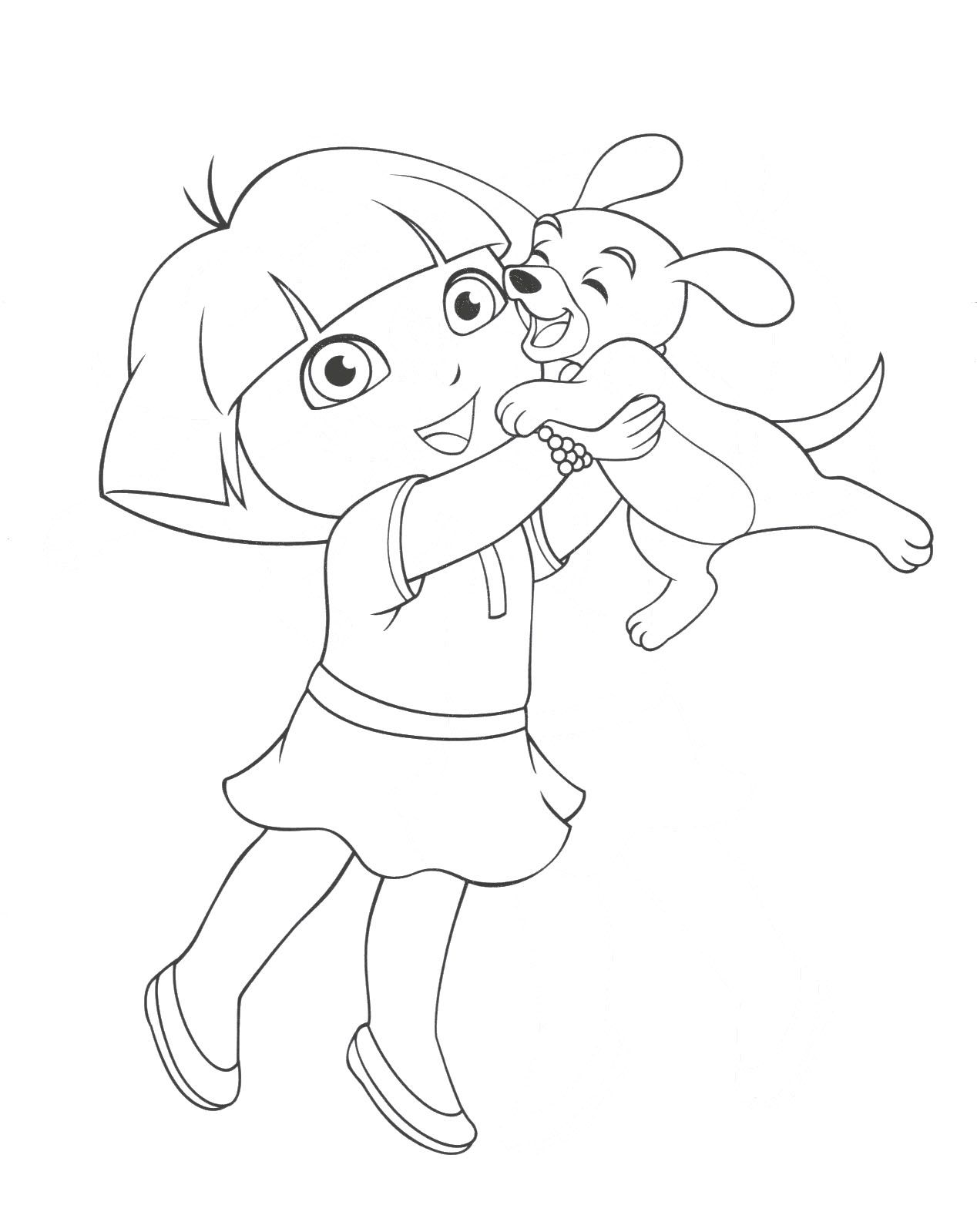 1268x1599 Dora Was Playing With Pet Animals Coloring Page Dora Coloring
