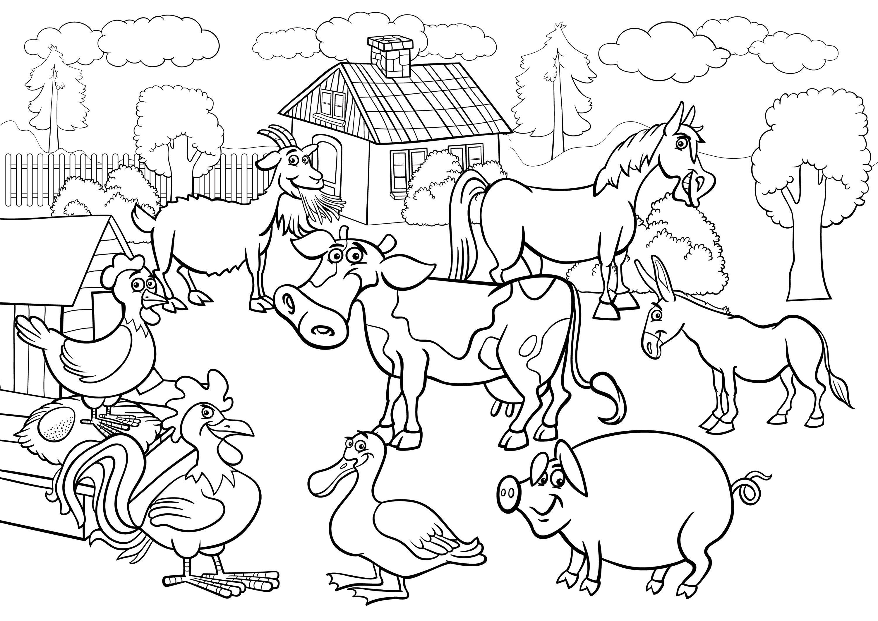 3000x2121 farm animals coloring pages free printable animal for kids