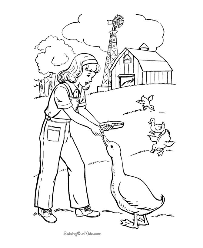 Farm Girl Coloring Pages