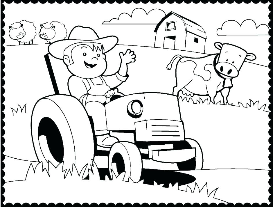 940x718 Farm Tractor Coloring Pages Page Johnny Free Online Farmer