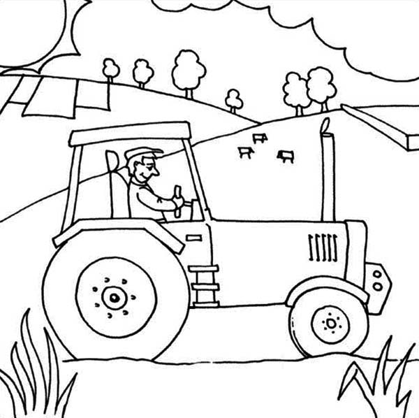 600x598 Farmer Ride Tractor Coloring Page