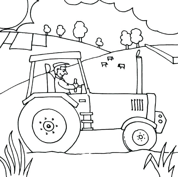 600x598 Coloring Pages Of Tractors Tractor Coloring Pages Free Tractor