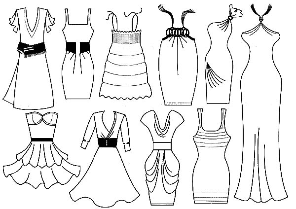 600x424 Coloring Page Of A Dress