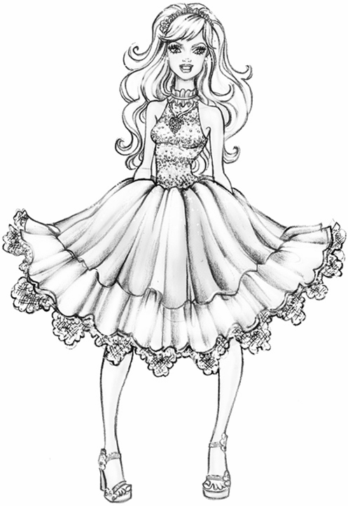 497x722 Fashiion Coloring Pages Barbie A Fashion Fairytale Coloring Page
