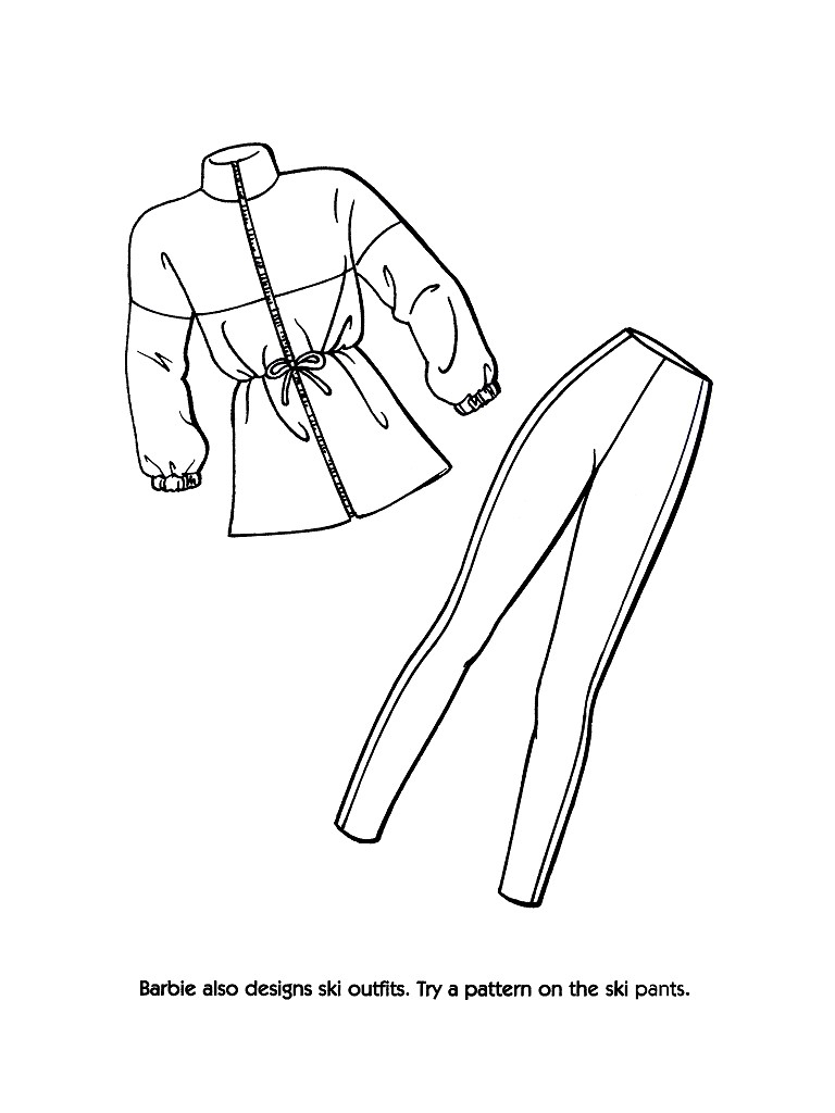 768x1024 Barbie Fashion Clothes Coloring Pages