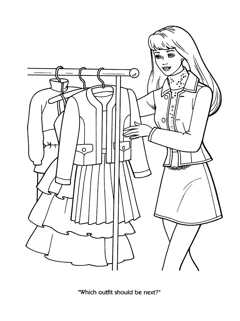 768x1024 Fashion Clothing And Jewelry Coloring Pages For Adults Barbie